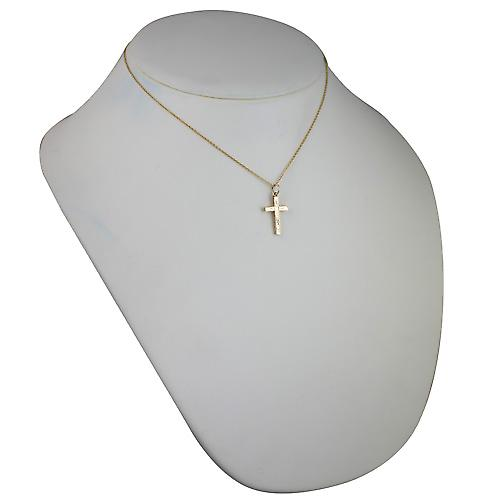 9ct Gold 20x13mm hand engraved solid block Cross with a cable Chain 16 inches Only Suitable for Children