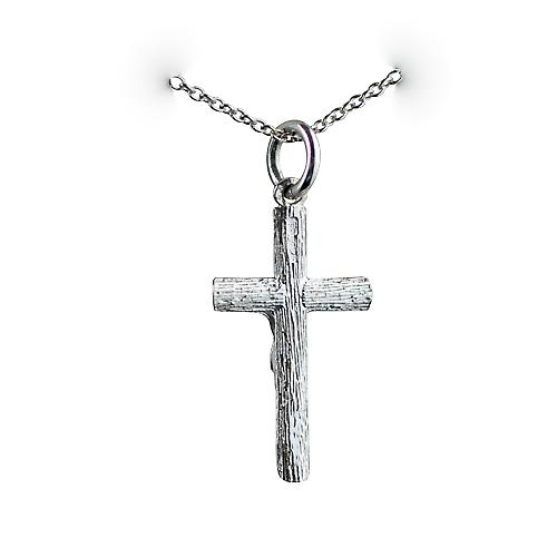 Silver 23x15mm Crucifix Cross with a rolo Chain 16 inches Only Suitable for Children