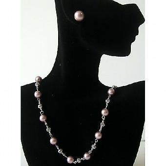 Handmade Swarovski Powder Rose Pearls Bridal Bridesmaid Jewelry