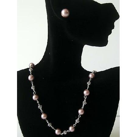 Handmade Swarovski Powder Rose Pearls Bridal Bridesmaid Jewelry