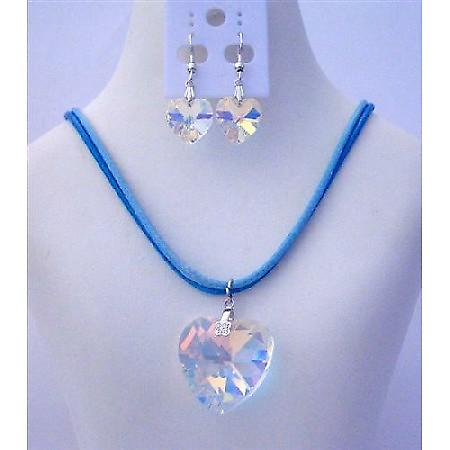 AB Crystals Heart Pendant Jewelry Set 28mm AB Heart Pendant & Earrings