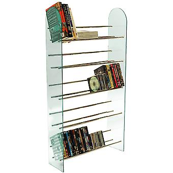 Luxor - 5 Stufe 285 Cd / 195 Dvd Media Storage Shelf Rack - Glas / Chrom