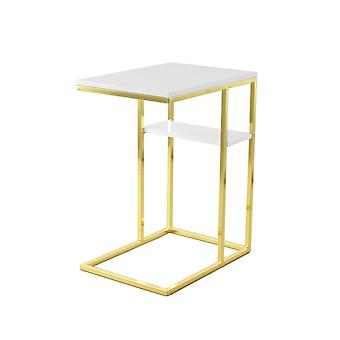 Coffee table gold high gloss white plate