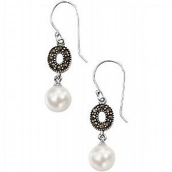 Elements Marcasite Crystal and Imitation Pearl Drop Earrings  925 Silver