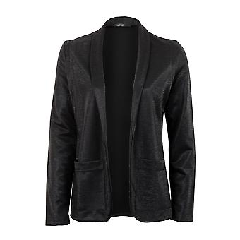 Ladies Long Sleeve Shiny Open Front Jacket Black Lurex Women's Blazer