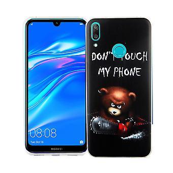 Huawei Y7 2019 koning winkel telefoon geval bescherming geval cover bumper dont touch mijn telefoon Bear