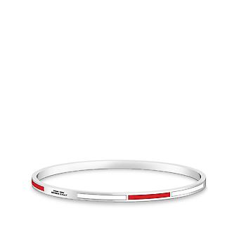 Ghostbusters Who You Gonna Call Engraved Two-Tone Enamel Bracelet In Red And White