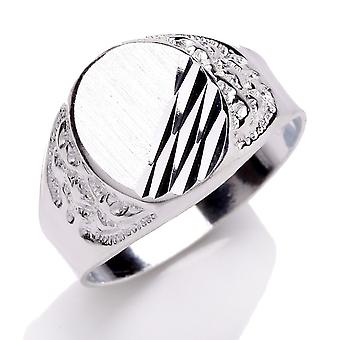 Jewelco London Men's Rhodium Plated Sterling Silver Scrolled Engraved Oval Signet Ring