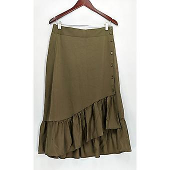 Du Jour Skirt Button Front Knit w/ Flounce Green A307041