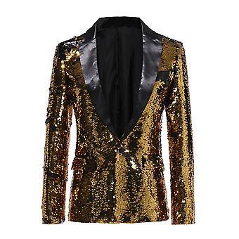 Allthemen Men-apos;s Gold Sequins Blazer Stage Veste de costume