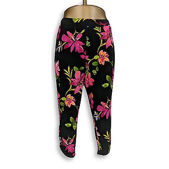 Susan Graver Women's Pants Liquid Knit Crop Black A351078
