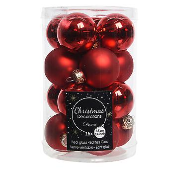 16 3.5cm Red Glass Christmas Tree Bauble Decorations | Christmas Tree Decoration
