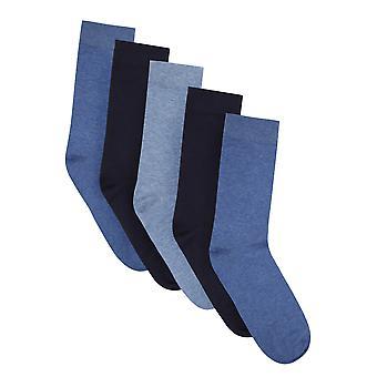 BadRhino Plain Blue 5 Pack Socks