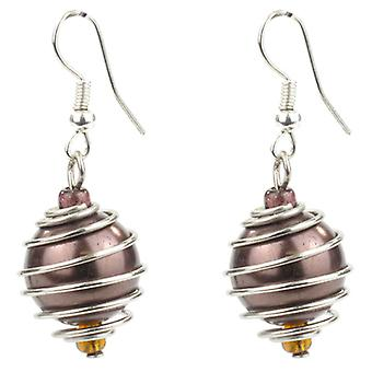 Chocolate Bead and Silver Swirl Drop Earrings