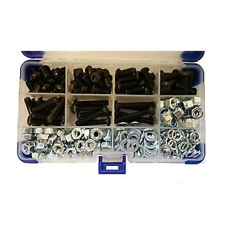 367Pc Black Socket Button Head Setscrews With Washers and Nuts M6 6MM