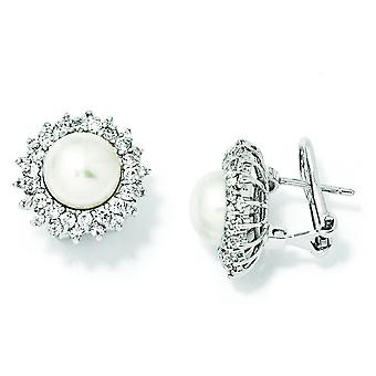 Sterling Silver CZ Freshwater Cultured Pearl Omega Back Earrings