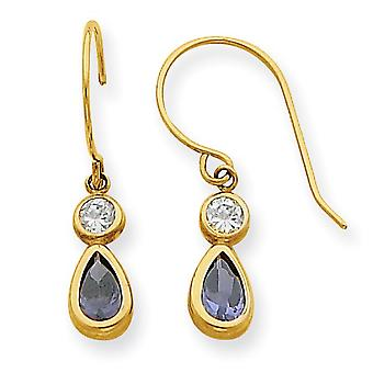 14k Yellow Gold Polished Shepherd hook Clear Purple Cubic Zirconia Dangle Earrings