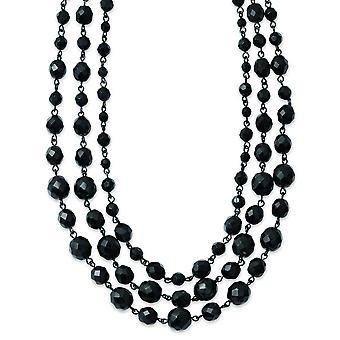 Black-plated Black Glass Beads 16inch With 3in Ext Necklace