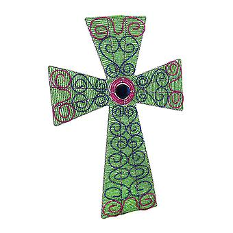 Beadworx Iridescent Glass Beaded Wire Gratework Wall Cross 18.5 In.
