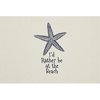 Rather Be at The Beach Starfish Printed Cotton Kitchen Dish Towel 28 Inches