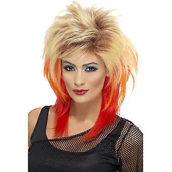 80s mullet wig blonde with red streaks
