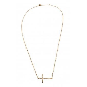 W.A.T Kissika 925 Sterling Silver et Gold Plated collier cristal Croix