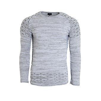 CARISMA rope pullover men's grey slim fit knit pullover