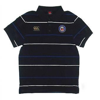 CCC baño Rugby raya Media camisa Polo de algodón [negro]