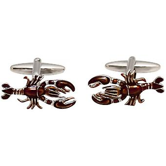 Zennor Lobster Cufflinks - Orange/Silver