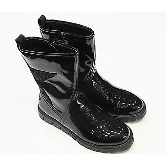 Lelli Kelly Lelli Kelly Jenny Girls Black Patent Leather Mid Calf Boots With Glitter Star On Back