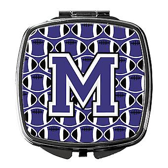 Letter M Football Purple and White Compact Mirror