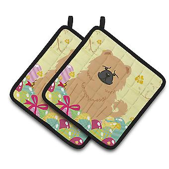 Carolines Treasures  BB6144PTHD Easter Eggs Chow Chow Cream Pair of Pot Holders