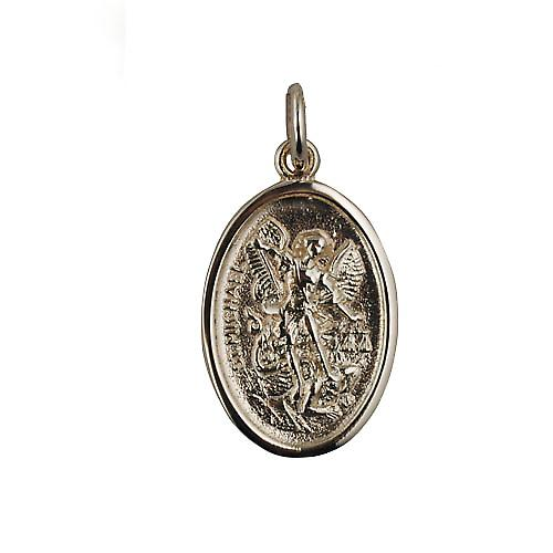 9ct Gold 21x15mm oval St Michael Pendant