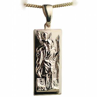 9ct Gold 35x15mm rectangular St Christopher Pendant on a bail with a curb Chain 24 inches