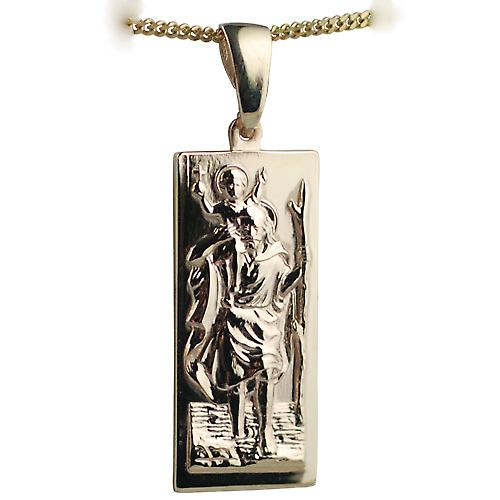 9ct Gold 35x15mm rectangular St Christopher Pendant with curb chain