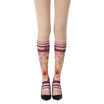 Zohara ZOF453-POMC Women's Sock In The Garden Powder Skin Fashion Tights
