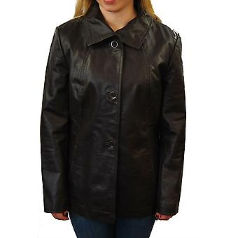 Womens Brown Leather Coat
