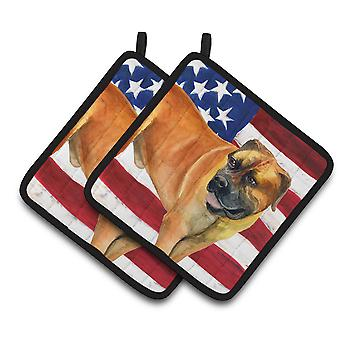 Carolines Treasures  BB9646PTHD Boerboel Mastiff Patriotic Pair of Pot Holders