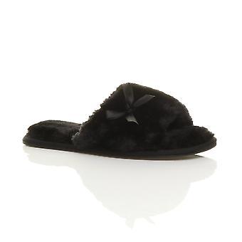 Ajvani womens piatto peep toe bow lusso accogliente montone pelliccia scivolare su Pantofole