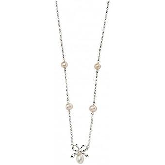 Beginnings Freshwater Pearl Bow Station Necklace - White/Silver