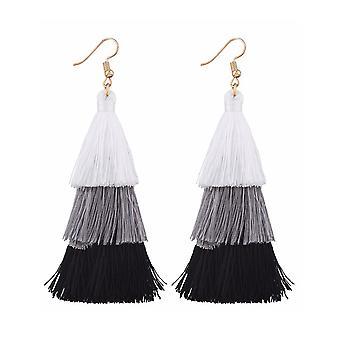 Black White Tassle Tassel Earrings