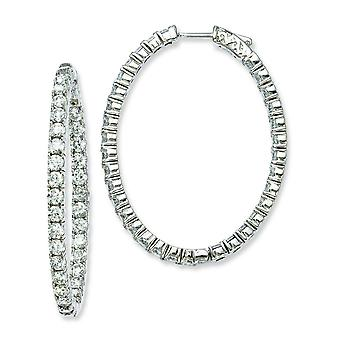Sterling Silver Polished Hinged hoop Safety clasp Rhodium-plated Rhodium Plated With Cubic Zirconia Hinged Oval Hoop Ear