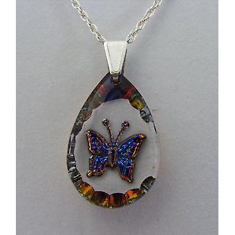 Heliotrope Teardrop Butterfly Crystal Pendant