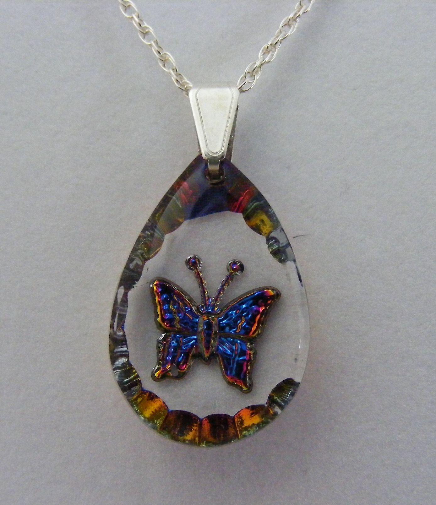 Heliotropo lágrima mariposa colgante de cristal