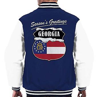 Seasons Greetings Georgia State Flag Christmas Men's Varsity Jacket