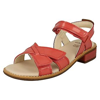 Girls Clarks Strappy Sandals Darcy Charm - Coral Patent - UK Size 13.5F - EU Size 32.5 - US Size 14M
