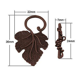 5 x Red Copper Plated Metal Alloy Leaf & Toggle Clasps 4.5 x 7 x 24mm HA06300