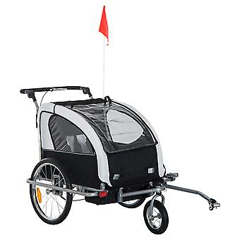 HOMCOM 2 in 1 Multifunctional Bicycle Child Carrier Baby Trailer Stroller Jogger Kit in Steel Frame (Black and White)