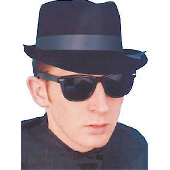 Blues Brothers Hat Fancy Dress Black Flocked