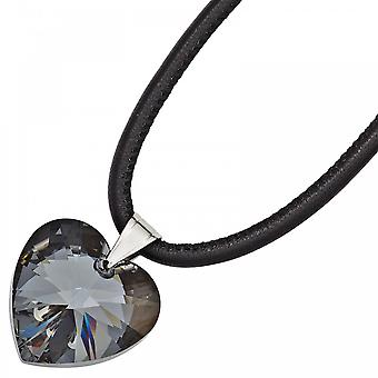 Necklace pendant necklace black heart stainless steel crystal element 45 cm heart chain